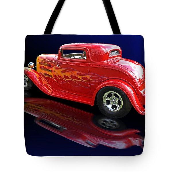 Flaming Roadster Tote Bag by Gill Billington