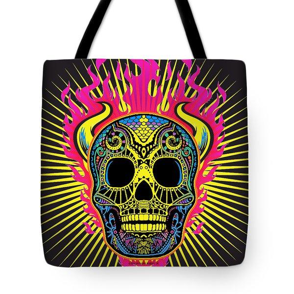 Flaming Skull Tote Bag by Tony Rubino