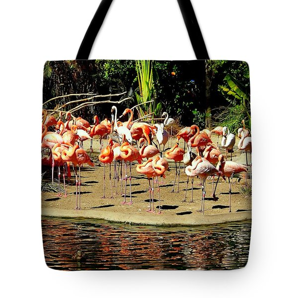 Flamingo Family Reunion Tote Bag by Karen Wiles