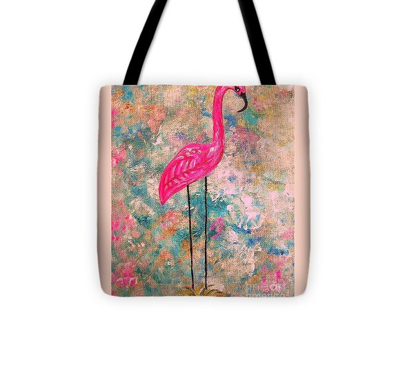 Flamingo On Pink And Blue Tote Bag by Eloise Schneider
