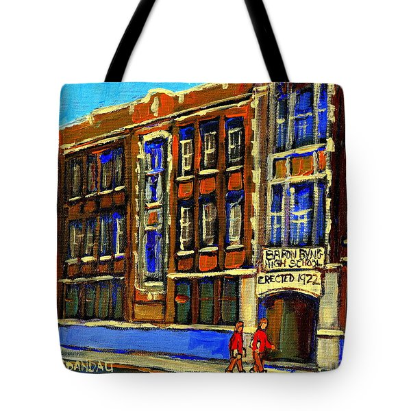 FLASHBACK TO SIXTIES MONTREAL MEMORIES BARON BYNG HIGH SCHOOL VINTAGE LANDMARK ST. URBAIN CITY SCENE Tote Bag by CAROLE SPANDAU
