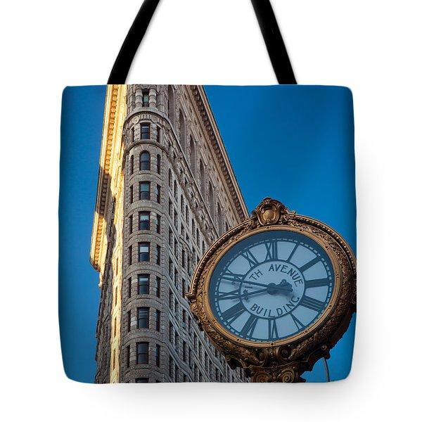 Flatiron Clock Tote Bag by Inge Johnsson