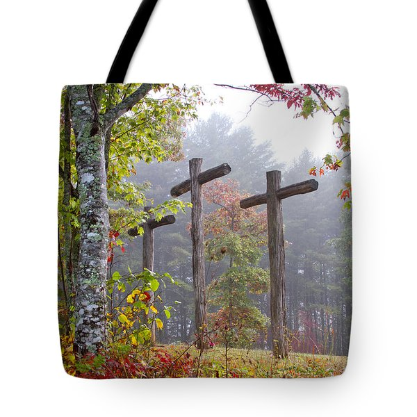 Flax Creek in the Fog Tote Bag by Debra and Dave Vanderlaan