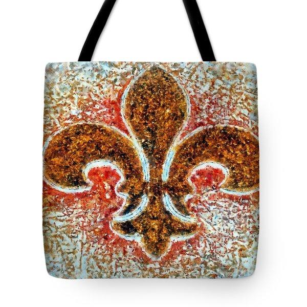 Fleur De Lis Gold Dust Tote Bag by Janine Riley