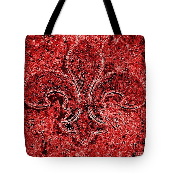 Fleur De Lis Red Ice Tote Bag by Janine Riley