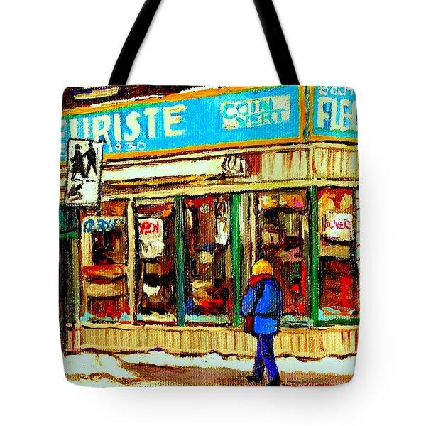 Fleuriste Notre Dame Flower Shop Paintings Carole Spandau Winter Scenes Tote Bag by Carole Spandau