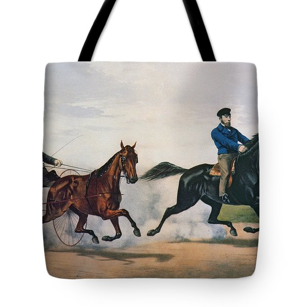 Flora Temple And Lancet Racing On The Centreville Course Tote Bag by Currier and Ives