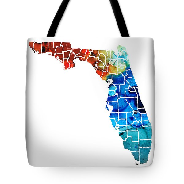 Florida - Map By Counties Sharon Cummings Art Tote Bag by Sharon Cummings