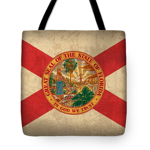 Florida State Flag Art On Worn Canvas Tote Bag by Design Turnpike