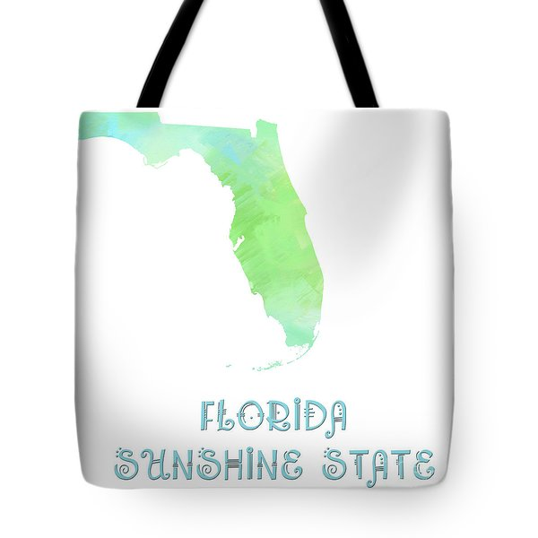Florida - Sunshine State - Map - State Phrase - Geology Tote Bag by Andee Design