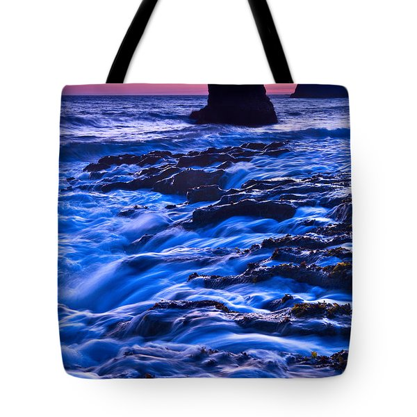 Flow - Dramatic Sunset View Of A Sea Stack In Davenport Beach Santa Cruz. Tote Bag by Jamie Pham