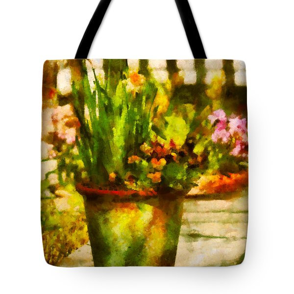 Flower - Daffodil - A pot of daffodil's Tote Bag by Mike Savad