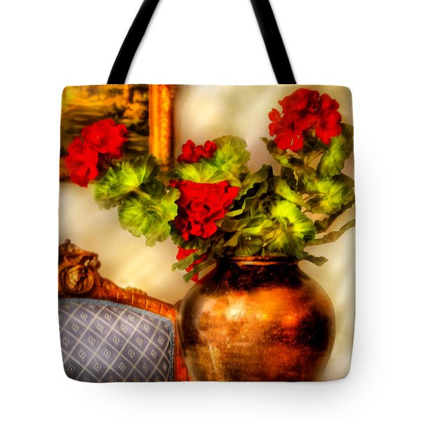 Flower - Geraniums on a table  Tote Bag by Mike Savad