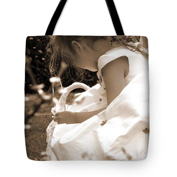 Flower Girls In Sepia Tote Bag by Terri  Waters