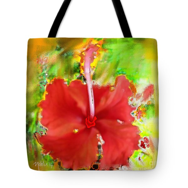 Flower Red Tote Bag by Nedunseralathan R