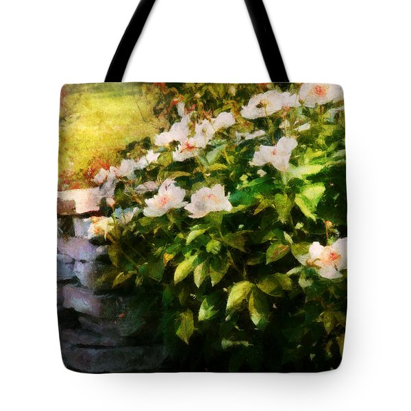 Flower - Rose - By a wall  Tote Bag by Mike Savad