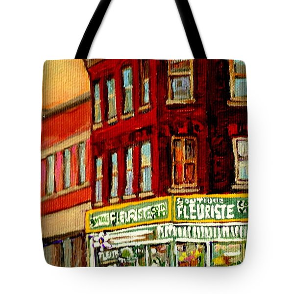 Flower Shop Painting Boutique Coin Vert Fleuriste Montreal Central 3403 Rue Notre-dame Scenes  Tote Bag by Carole Spandau