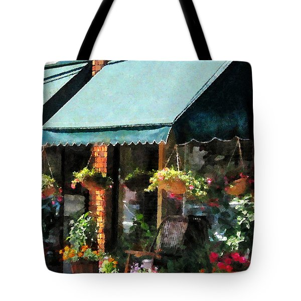 Flower Shop With Green Awnings Tote Bag by Susan Savad