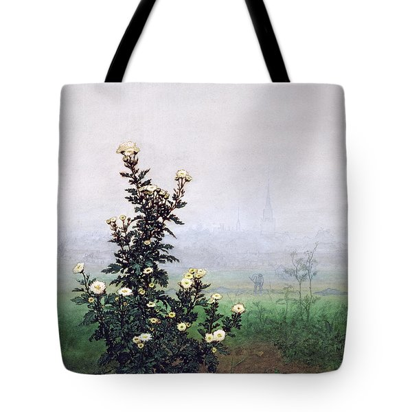 Flowering Chrysanthemum With Worker Tote Bag by Leon Bonvin