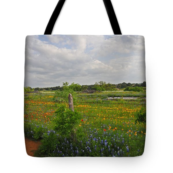 Flowers Along The Tracks Tote Bag by Lynn Bauer