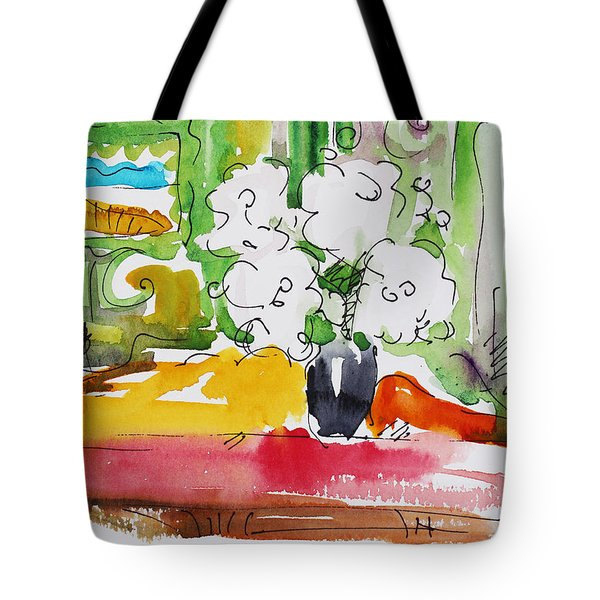 Flowers And Green Wall Tote Bag by Becky Kim
