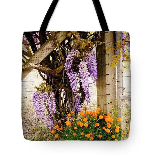 Flowers By The Gate Tote Bag by Avis  Noelle