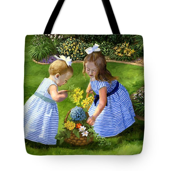 Flowers For Mama With Girls Garden Basket Bouquet Tote Bag by Alice Leggett