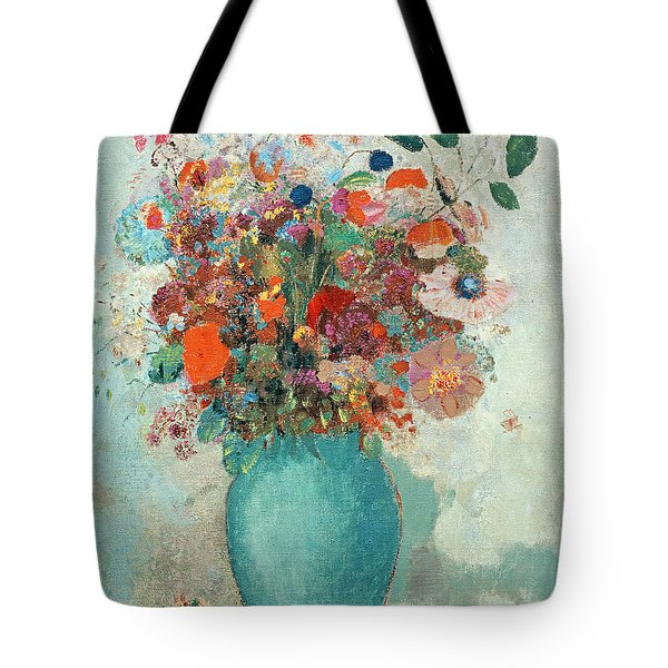 Flowers In A Turquoise Vase Tote Bag by Odilon Redon