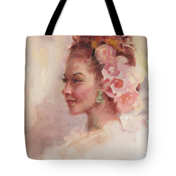 Flowers In Her Hair - Portrait Tote Bag by Talya Johnson