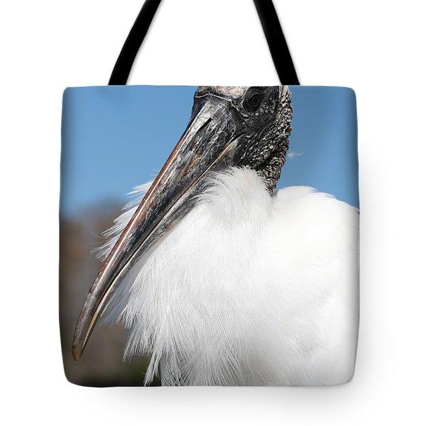 Fluffy Wood Stork Tote Bag by Carol Groenen