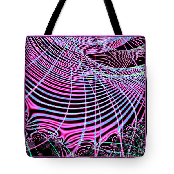 Fluorescent Neon Web Fractal 45 Tote Bag by Rose Santuci-Sofranko