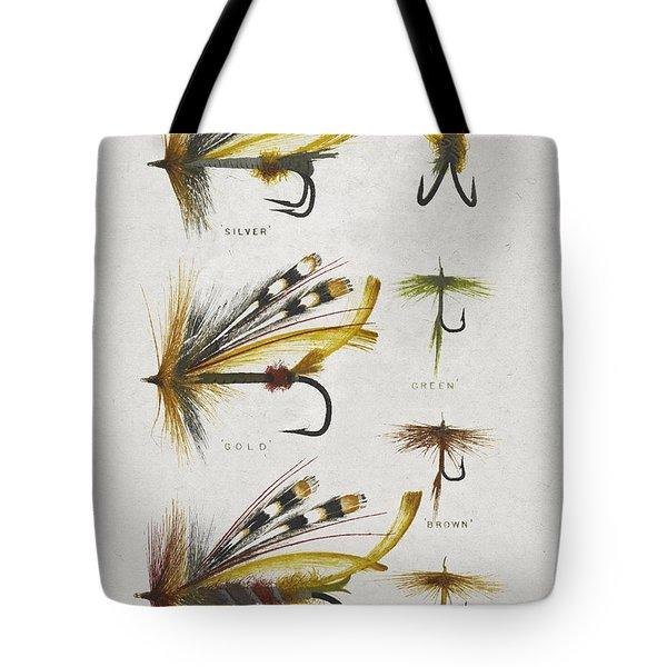 Fly Fishing Flies Tote Bag by Aged Pixel