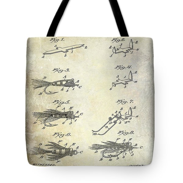 1922 Fly Fishing Lure Patent Drawing Tote Bag by Jon Neidert