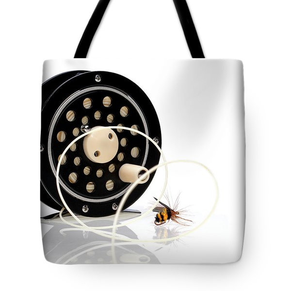 Fly Fishing Reel With Fly Tote Bag by Tom Mc Nemar