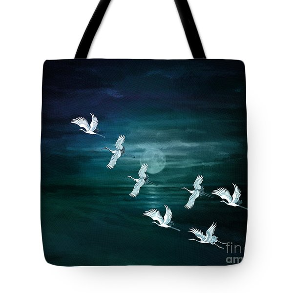 Flying By The Moon Bay Tote Bag by Bedros Awak