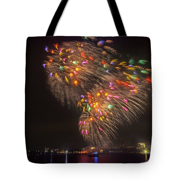 Flying Feathers Of Boston Fireworks Tote Bag by Sylvia J Zarco