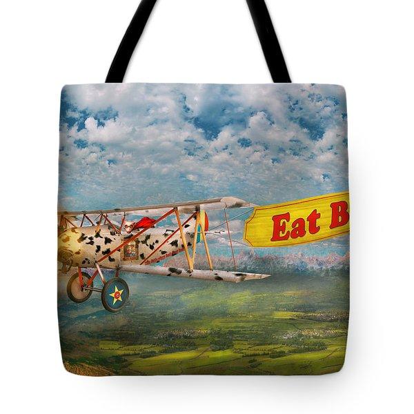 Flying Pigs - Plane - Eat Beef Tote Bag by Mike Savad