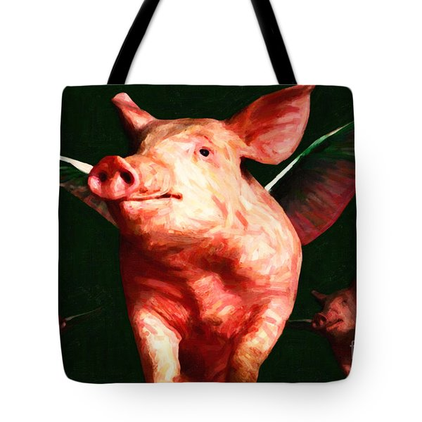 Flying Pigs v1 Tote Bag by Wingsdomain Art and Photography