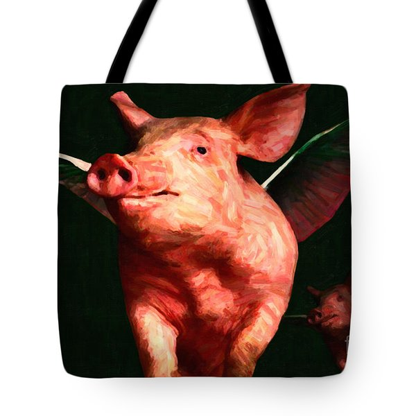 Flying Pigs v3 Tote Bag by Wingsdomain Art and Photography
