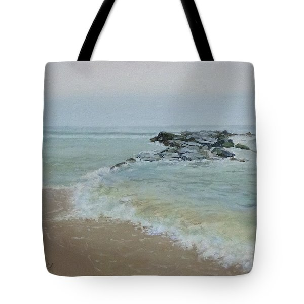 Rock Jetty Paintings Tote Bags - Fog bank Tote Bag by Ellen Paull