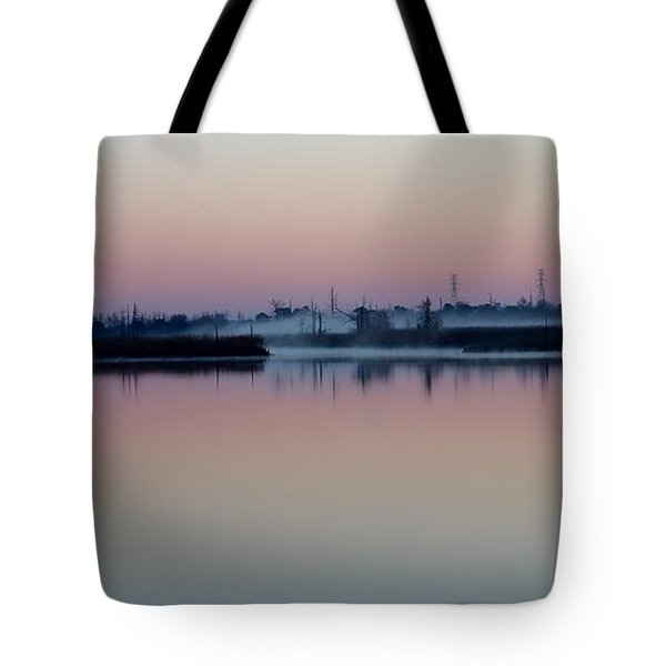 Fog Over The River Tote Bag by Cynthia Guinn