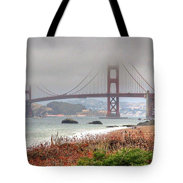 Foggy Bridge Tote Bag by Kate Brown