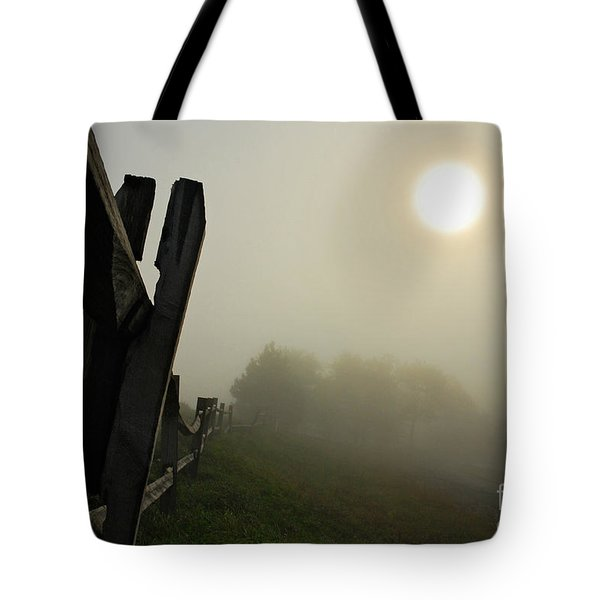 Foggy Country Road Tote Bag by Lois Bryan