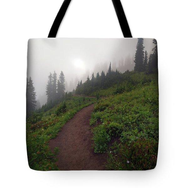 Foggy Crest Trail Tote Bag by Mike  Dawson