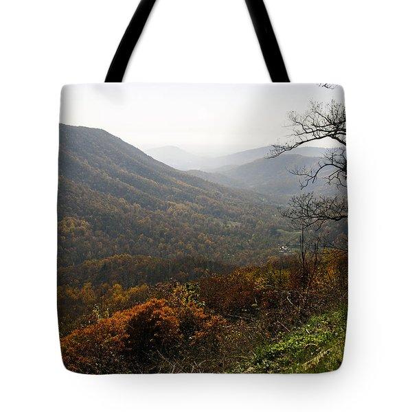 Foggy Fall Morning Tote Bag by Lynn Bauer