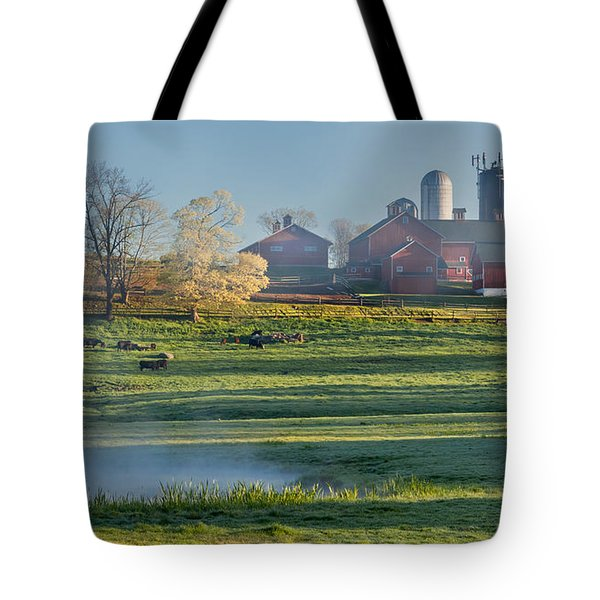 Foggy Farm Morning Tote Bag by Bill  Wakeley