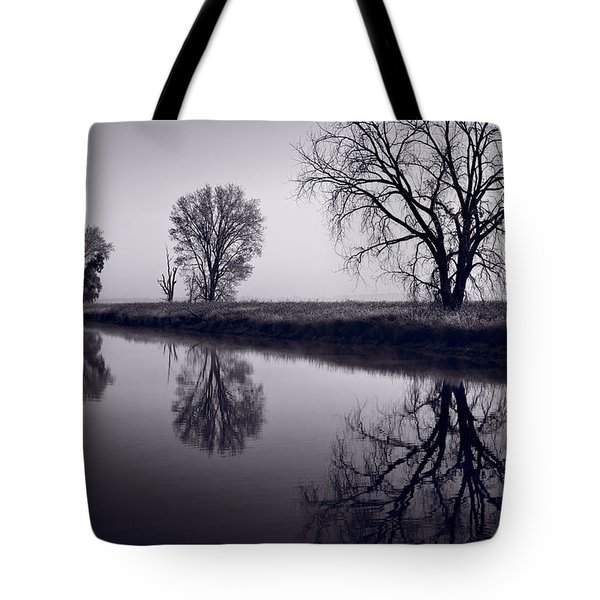 Foggy Morn Bw Tote Bag by Steve Gadomski