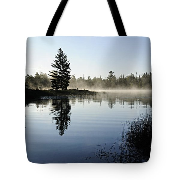 Foggy Morning Tote Bag by Larry Ricker