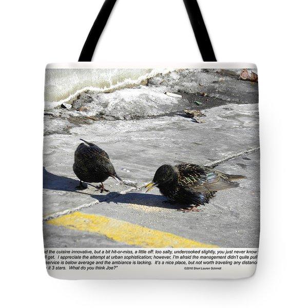 Food Critics Tote Bag by Sheri Lauren Schmidt