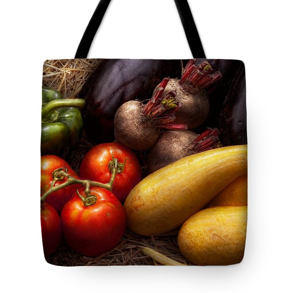 Food - Vegetables - Peppers Tomatoes Squash And Some Turnips Tote Bag by Mike Savad